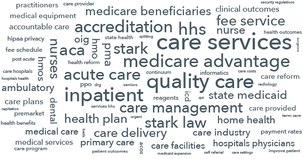 "Figure 1: Text analysis of the words that ""innovative healthcare"" companies use in describing themselves"