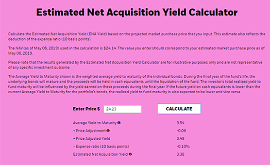 Estimated net aquisition yield calculator