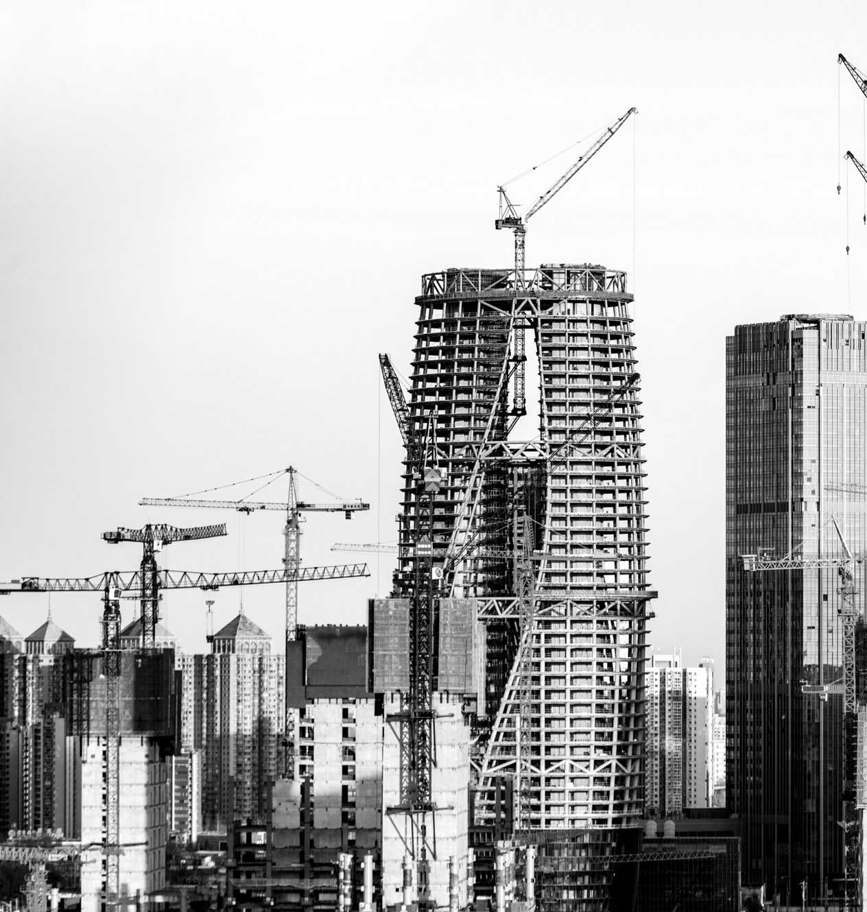 cranes and buildings under construction
